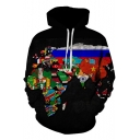Cool Multicolor World Map Printed Drawstring Long Sleeve Black Hoodie with Pocket