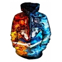 3D Blue Red Fire and Ice Wolf Print Colorblock Long Sleeve Hoodie with Pocket