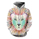 Hot Fashion Lion Print Long Sleeve White Unisex Hoodie with Pocket