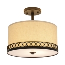 American Rustic Drum Ceiling Lamp Fabric 5 Lights White Semi Flush Mount Light for Living Room