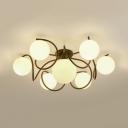 Black/White Globe Ceiling Lamp 7 Lights Nordic Style Frosted Glass Semi Flush Light for Living Room