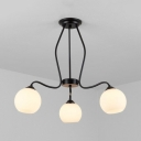 Globe Restaurant Semi Flush Mount Light Frosted Glass 3/6/8 Lights Simple Style Ceiling Lamp in Black