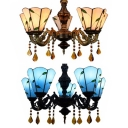 Living Room Cone Chandelier with Leaf Glass 5 Lights Antique Style Beige/Blue Pendant Light