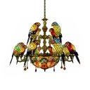 12 Lights Parrot Hanging Lamp Tiffany Style Stained Glass Hanging Light with Crystal for Living Room