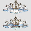 Tiffany Style Nautical Chandelier Dome 7/9 Lights Stained Glass Ceiling Pendant with Mermaid for Hotel