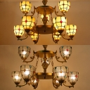 Elegant Style Dome Chandelier Clear/Yellow Glass 9 Lights Engraved Ceiling Light for Villa Hotel