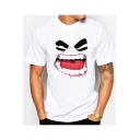 Cartoon Angry Expression Printed White Round Neck Short Sleeves Tee
