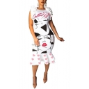 New Stylish Letter Girl Face Sketch Heart Pattern White Round Neck Zipper Split Back Midi Ruffle Bodycon Dress