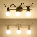 Nordic Style Black/White Wall Light Antlers 3 Lights Metal Sconce Light for Dining Room Foyer