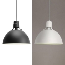 1 Light Dome Hanging Light Simple Style Metal Ceiling Light in Black/White for Kitchen