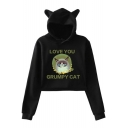 Lovely Cat Ear Design Cartoon Letter LOVE YOU GRUMPY CAT Long Sleeve Cropped Hoodie