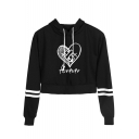 Stylish Heart Letter FOREVER Striped Long Sleeve Casual Loose Cropped Hoodie