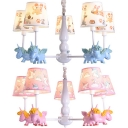 Unicorn Child Bedroom Pendant Lamp with Tapered Shade Metal 5 Lights Lovely Chandelier in Blue/Pink