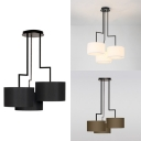 Drum Shade Restaurant Pendant Light Fabric 3 Lights Simple Style Chandelier in Black/Coffee/White