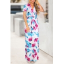 Hot Fashion V-Neck Short Sleeve Floral Printed Bow-Tied Waist Maxi Shift Dress