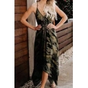 New Stylish V-Neck Sleeveless Camouflage Printed Backless Tied Waist Midi Slip Army Green Dress