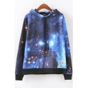 New Stylish Galaxy Printed Drawstring Long Sleeve Navy Hoodie with Pocket