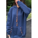 Tribal Printed Drawstring Hood Long Sleeve Oversized Pocket Hoodie