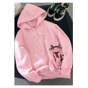 Cartoon Cat Letter Embroidered Printed Bow Patchwork Long Sleeve Drawstring Hoodie