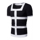 Guys Summer Trendy Fashion Square Neck Short Sleeve Colorblock Slim Fitted T-Shirt