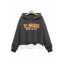 Letter YELLOWCARD Patched Fake Two-Piece Long Sleeve Casual Relaxed Dark Grey Hoodie