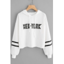 Basic Simple Letter NEW YORK Striped Long Sleeve Cropped Casual Hoodie