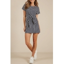 Summer New Trendy Round Neck Short Sleeve Bow-Tied Waist Casual Mini A-Line T-Shirt Dress