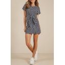 Summer New Trendy Round Neck Short Sleeve Bow-Tied Waist Casual Mini A-Line T-Shirt Dress