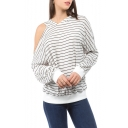 Womens Trendy White Striped Printed Cold Shoulder Long Sleeve Relaxed Hoodie