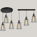 Black Wire Frame Hanging Light 3 Lights Vintage Metal Linear/Round Canopy Ceiling Lamp for Restaurant