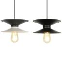 Black/Black & White Saucer Pendant Light 1 Light Industrial Metal Hanging Light for Study Room