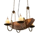 Wood Boat Ceiling Light with Flameless Candle Creative Chandelier in Brown for Restaurant Bar