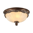 Frosted Glass Dome Flush Mount Light Living Room 3 Lights Traditional Ceiling Light in White