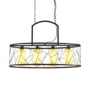 Frosted Glass Candle Pendant Light Restaurant 4 Lights Industrial Island Light in Beige