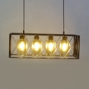 Clear Glass Cylinder Island Lamp 4 Lights Vintage Style Ceiling Pendant Light in Black for Shop