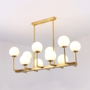Frosted Glass Globe Pendant Lamp 10 Lights Traditional Island Light in Brass for Living Room