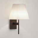 Fabric Tapered Shade Wall Lamp Hallway Foyer Single Light Simple Style Sconce Light in White