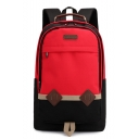 New Fashion Student's Leather Label Patched Colorblock Oxford Cloth Laptop Bag Travel Backpack 47*31*16 CM
