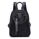 Women's Personalized Emboss Pattern Black Nylon Travel School Bag Backpack 28*20*12 CM