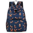 Cute Cartoon Squirrel Pattern Navy Waterproof Nylon School Bag Backpack 33*12*40 CM