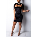 Unique Fashion Cape Basic Solid Color Velvet Two-Piece Mini Bandage Dress Club Dress for Women