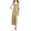 Womens Summer Fashion Yellow Printed V-Neck Sleeveless Tied Waist Maxi Asymmetrical Dress
