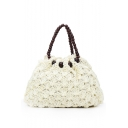 Simple Fashion Plain Beads Handle Straw Tote Beach bag 37*14*23 CM