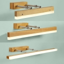 Beige Linear Extendable Wall Light 16/23.5/31.5 Inch Modern Wood LED Sconce Light in Warm for Bedroom