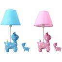 Cartoon Giraffe Desk Lamp Resin 1 Light Blue/Pink Dimmable Plug In Night Light for Bedroom