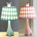 Lovely Giraffe Desk Light with Checkered Shade 1 Light Fabric Study Light in Blue/Pink for Bedroom
