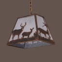Craftsman Restaurant Pendant Light Metal 1 Light Rustic Style Ceiling Light with Deer in Aged Bronze