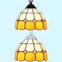 Glass Black/White Chain Ceiling Pendant 1 Light Tiffany Rustic Pendant Light in Yellow for Corridor