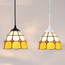 Lattice Bowl Bedroom Pendant Light Glass 1 Light Tiffany Modern Yellow Ceiling Light with Black/White Chain
