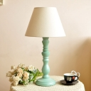Nordic Style Tapered Shade Table Light 1 Light Linen Desk Light in Green for Bedside Table